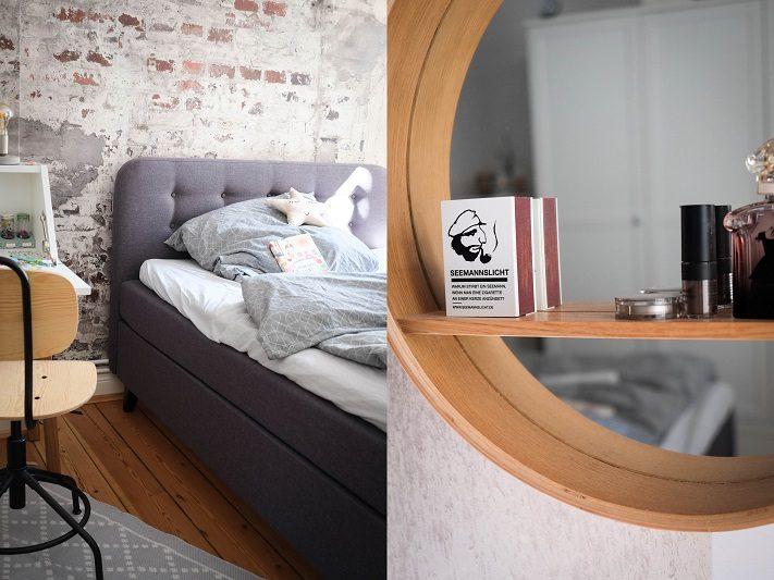 schlafzimmer im industrial look mit weißen akzenten