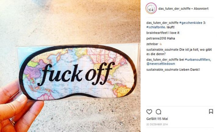 "schlafbrille modell ""fuck off'"