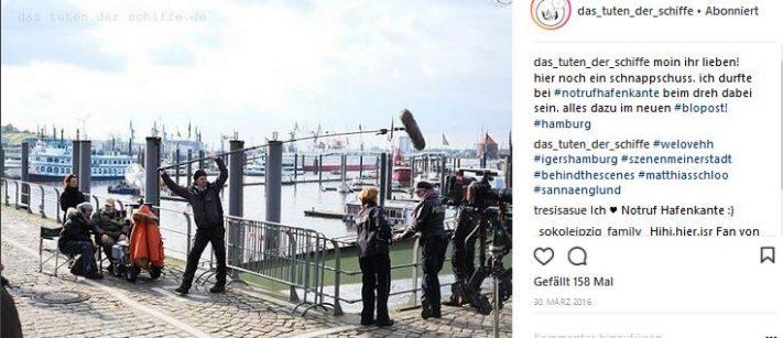 dreharbeiten notruf hafenkante auf instagram