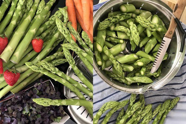 salat mit gedünstetem grünen spargel, erdbeeren, blaubeeren und blutampfer
